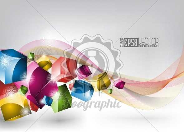 Vector dynamic design background with colored cubes. - Royalty Free Vector Illustration