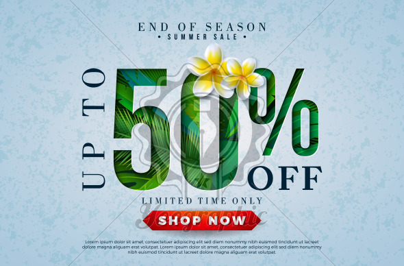 Summer Sale Design with Flower and Tropical Palm Leaves in Typography Letter on Blue Background. Vector End of Season Special Offer Illustration with Summer Holiday Elements for Coupon, Voucher, Banner, Flyer, Promotional Poster, Invitation or Greeting Card. - Royalty Free Vector Illustration