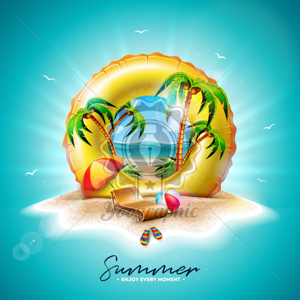 Vector Summer Holiday Illustration with Yellow Float and Exotic Palm Trees on Tropical Island Background. Flower, Beach Ball, Sunshade and Blue Ocean Landscape for Banner, Flyer, Invitation, Brochure, Poster or Greeting Card. - Royalty Free Vector Illustration
