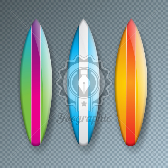 Vector Illustration with Colorful Surf Board Collection Isolated on Transparent Background. Vector Holiday Design Elemets with Surfboard Set for Banner, Flyer, Invitation, Brochure, Party Poster or Greeting Card. - Royalty Free Vector Illustration