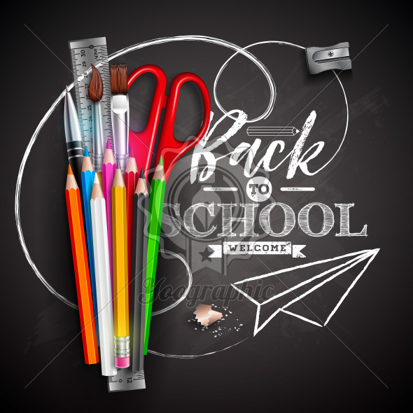 Back to school design with colorful pencil, scissors, ruler and typography letter on black chalkboard background. Vector illustration with education elements for greeting card, banner, flyer, invitation, brochure or promotional poster. - Royalty Free Vector Illustration