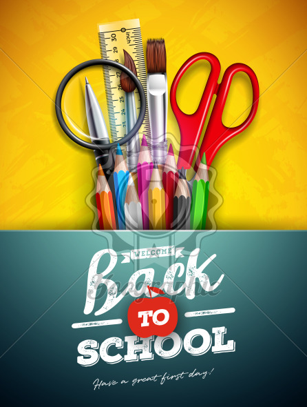 Back to school design with colorful pencil, magnifying glass, scissors, ruler and typography letter on yellow background. Vector illustration with education elements for greeting card, banner, flyer, invitation, brochure or promotional poster. - Royalty Free Vector Illustration