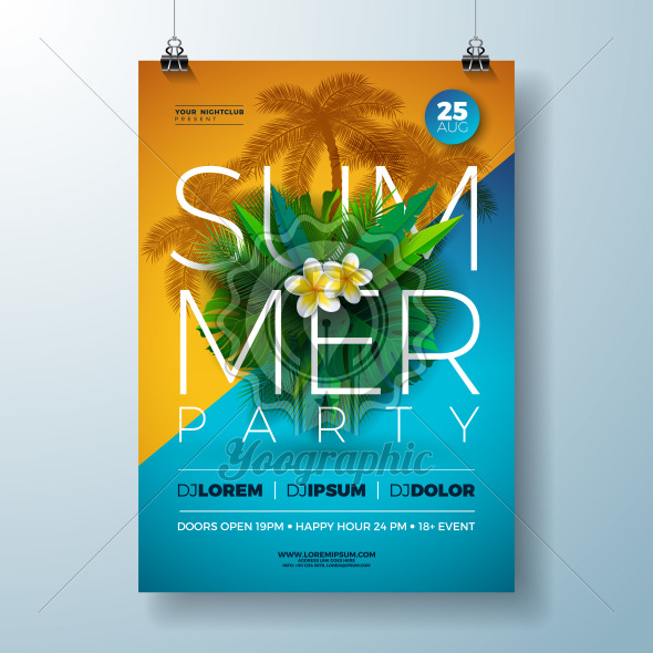 Vector Summer Party Flyer Design with Flower and Tropical Palm Leaves on Blue and Yellow Background. Summer Holiday Celebration Illustration with Exotic Plants and Typography Letter for Banner, Flyer, Invitation or Poster. - Royalty Free Vector Illustration