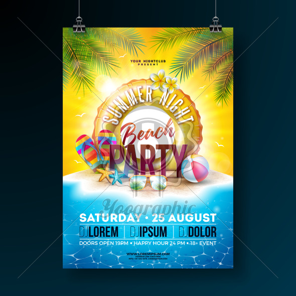 Vector Summer Night Beach Party Flyer Design with Tropical Palm Leaves and Float on Ocean Landscape Background. Summer Holiday Illustration with Paradise Island, Beach Ball, Sunglasses and Lifebelt for Banner, Flyer, Invitation or Celebration Poster. - Royalty Free Vector Illustration