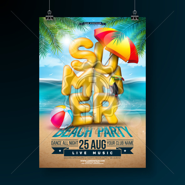 Vector Summer Party Flyer Design with 3d Typography Letter and Tropical Palm Leaves on Ocean Landscape Background. Summer Vacation Holiday Design Template with Toucan Bird, Beach Ball and Sunshade for Banner, Flyer, Invitation or Celebration Poster. - Royalty Free Vector Illustration