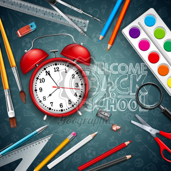 Back to school design with red alarm clock and typography on black chalkboard background. Vector illustration with education elements for greeting card, banner, flyer, invitation, brochure or promotional poster. - Royalty Free Vector Illustration