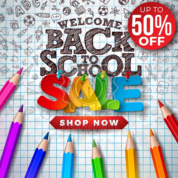 Back to School Sale Design with Colorful Pencil and Hand Drawn Doodles on Square Grid Background. Vector Illustration with Special Offer Typography Elements for Coupon, Voucher, Banner, Flyer, Poster or greeting card. - Royalty Free Vector Illustration
