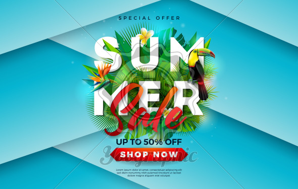 Summer Sale Design with Flower, Toucan Bird and Tropical Palm Leaves on Blue Background. Vector Holiday Illustration with Special Offer Typography Letter for Coupon, Voucher, Banner, Flyer, Promotional Poster, Invitation or Greeting Card. - Royalty Free Vector Illustration