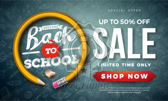 Back to School Sale Design with Graphite Pencil and Typography Letter on Black Chalkboard Background. Vector Education Concept Illustration for Special Offer, Coupon, Voucher, Banner, Flyer, Poster, Invitation or greeting card. - Royalty Free Vector Illustration