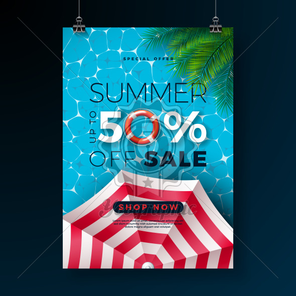Summer Sale Poster Design Template with Float, Sunshade and Tropical Palm Leaves on Blue Pool Background. Exotic Floral Vector Illustration with Special Offer Typography for Coupon, Voucher, Banner, Flyer, Promotional Poster, Invitation or greeting card. - Royalty Free Vector Illustration