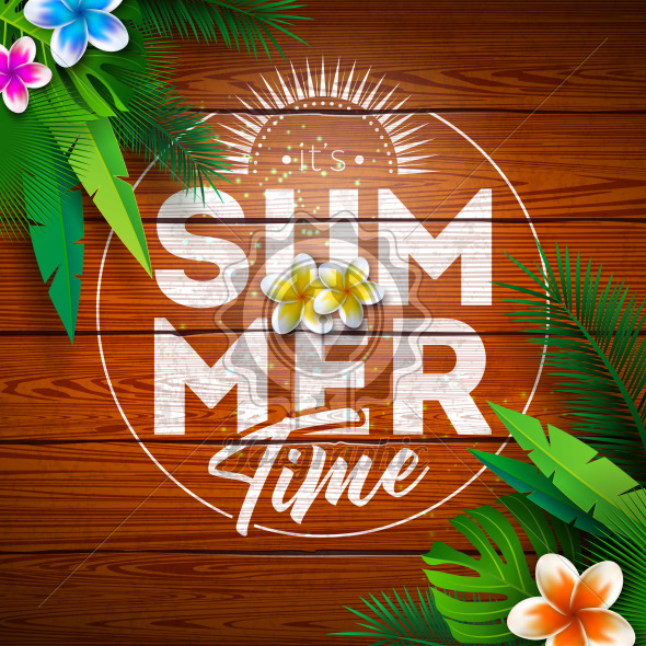 Summer Paradise Holiday Design with Flower and Tropical Plants on Vintage Wood Background. Vector Illustration with Typography Letter, Exotic Palm Leaves and Phylodendron for Banner, Flyer, Invitation, Brochure, Poster or Greeting Card. - Royalty Free Vector Illustration