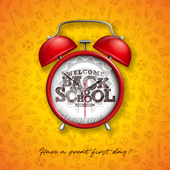 Back to school design with red alarm clock and typography on yellow background. Vector education concept illustration with hand drawn doodles for greeting card, banner, flyer, invitation, brochure or promotional poster. - Royalty Free Vector Illustration