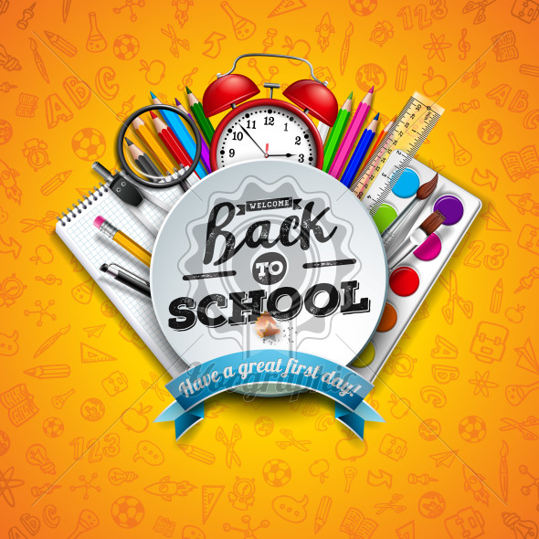 Back to school design with colorful pencil, scissors, ruler and typography letter on yellow background. Vector illustration with education elements and hand drawn doodles for greeting card, banner, flyer, invitation, brochure or promotional poster. - Royalty Free Vector Illustration