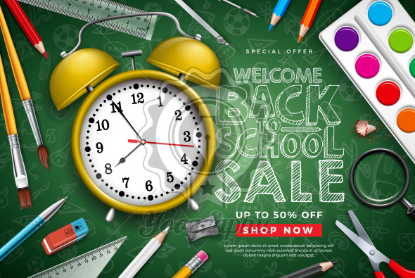 Back to School Sale Design with Alarm Clock, Colorful Pencil, Brush, Scissors and Typography Letter on Chalkboard Background. Vector Illustration for Special Offer, Coupon, Voucher, Banner, Flyer, Poster, Invitation or Greeting Card. - Royalty Free Vector Illustration