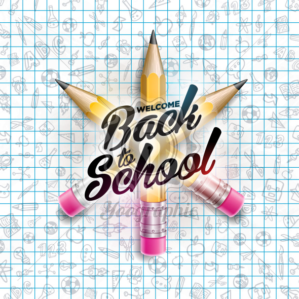 Back to school design with colorful pencil and ltypography letter on square grid booklet background. Vector education concept illustration for greeting card, banner, flyer, invitation, brochure or promotional poster. - Royalty Free Vector Illustration