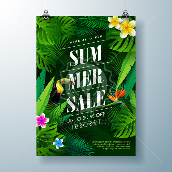 Summer Sale Poster Design Template with Flower, Toucan Bird and Exotic Leaves on Dark Green Background. Tropical Floral Vector Illustration with Special Offer Typography for Coupon, Voucher, Banner, Flyer, Promotional Poster, Invitation or greeting card. - Royalty Free Vector Illustration