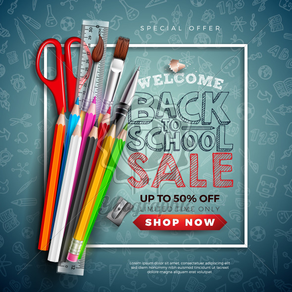 Back to School Sale Design with Colorful Pencil, Brush, Scissors and Typography Letter on Chalkboard Background. Vector Illustration for Special Offer, Coupon, Voucher, Banner, Flyer, Poster, Invitation or Greeting Card. - Royalty Free Vector Illustration