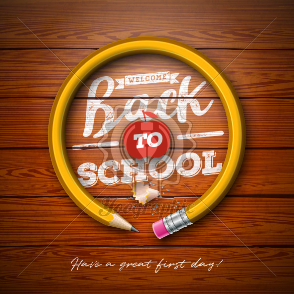Back to school design with graphite pencil and typography lettering on vintage wood texture background. Vector School illustration for greeting card, banner, flyer, invitation, brochure or promotional poster. - Royalty Free Vector Illustration