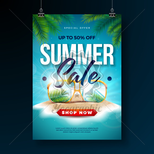 Summer Sale Poster Design Template with Exotic Palm Leaves and Sunglasses on Tropical Island Background. Vector Special Offer Illustration with Blue Ocean Landscape for Coupon, Voucher, Banner, Flyer, Promotional Poster, Invitation or greeting card. - Royalty Free Vector Illustration