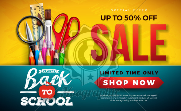Back to School Sale Design with Colorful Pencil, Brush and Scissors on Yellow Background. Vector Illustration with Special Offer Typography Elements for Coupon, Voucher, Banner, Flyer, Poster, Invitation or greeting card. - Royalty Free Vector Illustration