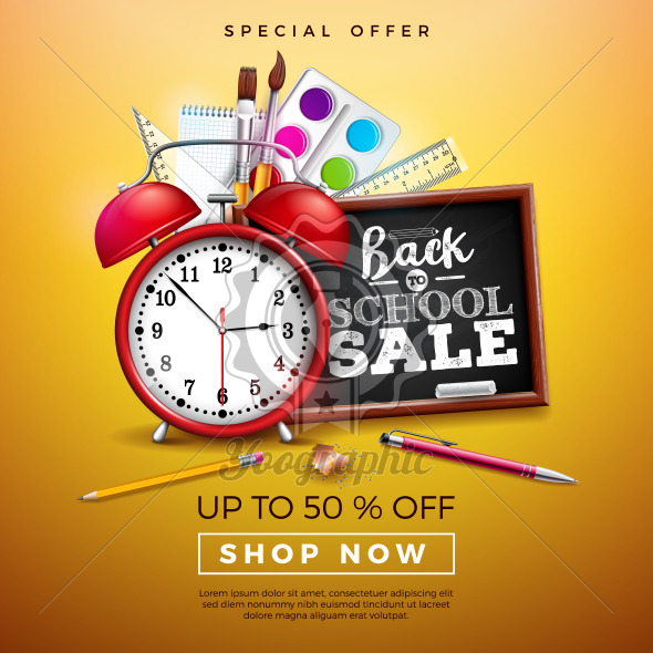 Back to School Sale Design with Colorful Pencil, Brush and Other Learning Items on Yellow Background. Vector Illustration with Special Offer Typography Elements for Coupon, Voucher, Banner, Flyer, Poster, Invitation or greeting card. - Royalty Free Vector Illustration