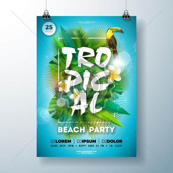 Tropical Summer Beach Party Flyer Design with flower, palm leaves and toucan bird on blue background. Vector Summer Celebration Design template with nature floral elements, tropical plants and typograpy letter for banner, flyer, invitation, holiday poster. - Royalty Free Vector Illustration