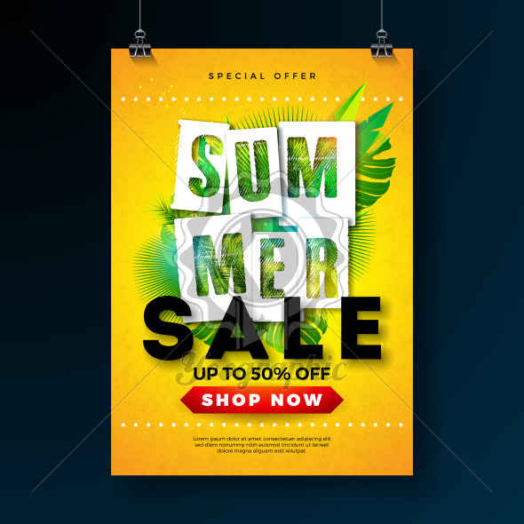 Summer Sale Poster Design Template with Tropical Palm Leaves and Typography Letter on Yellow Background. Vector Holiday Illustration for Special Offer, Coupon, Voucher, Banner, Flyer, Promotional Poster, Invitation or Greeting Card. - Royalty Free Vector Illustration