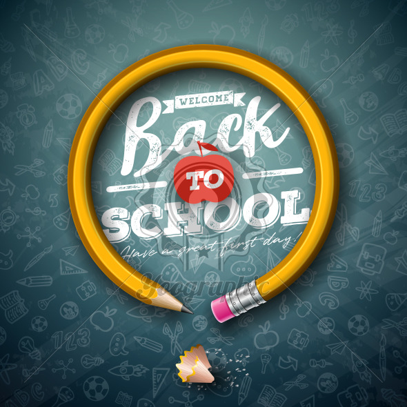 Back to school design with graphite pencil and typography lettering on black chalkboard background. Vector School illustration with hand drawn doodles for greeting card, banner, flyer, invitation, brochure or promotional poster. - Royalty Free Vector Illustration