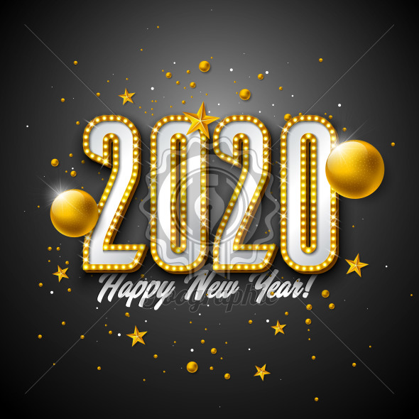 2020 Happy New Year illustration with 3d light bulb typography lettering and Christmas ball on black background. Vector Holiday design with shiny bright lights for flyer, greeting card, banner, celebration poster, party invitation or calendar. - Royalty Free Vector Illustration