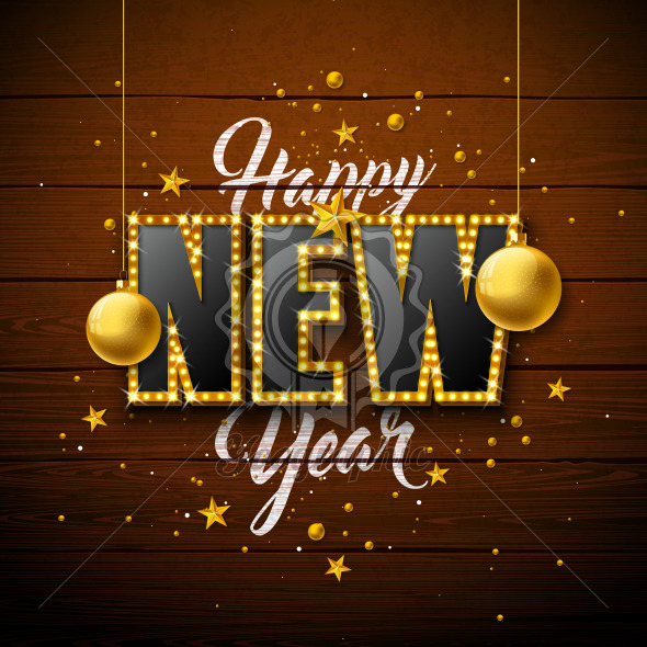 2020 Happy New Year illustration with 3d light bulb typography lettering and Christmas ball on vintage wood background. Vector Holiday design for flyer, greeting card, banner, celebration poster, party invitation or calendar. - Royalty Free Vector Illustration