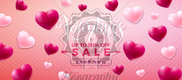 Valentines day sale design with red and white heart on pink background. Vector special offer illustration for coupon, banner, voucher or promotional poster. - Royalty Free Vector Illustration