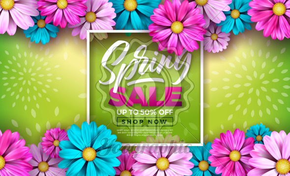 Spring Sale Design Template with Colorful Flowers and Typography Letter on Green Background. Vector Special Offer Illustration for Coupon, Banner, Voucher or Promotional Poster. - Royalty Free Vector Illustration