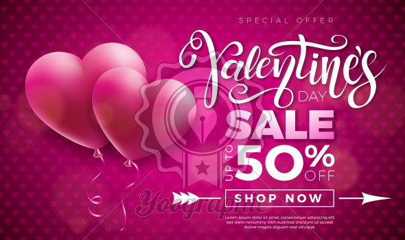 Valentines day sale design with red heart balloon on pink background. Vector special offer illustration for coupon, banner, voucher or promotional poster. - Royalty Free Vector Illustration