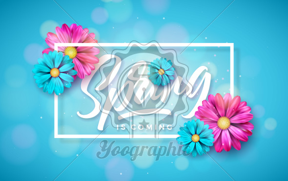 Vector Illustration on a Spring Nature Theme with Beautiful Colorful Flower on Blue Background. Floral Design Template with Typography Letter for Banner, Flyer, Invitation, Poster or Greeting Card. - Royalty Free Vector Illustration