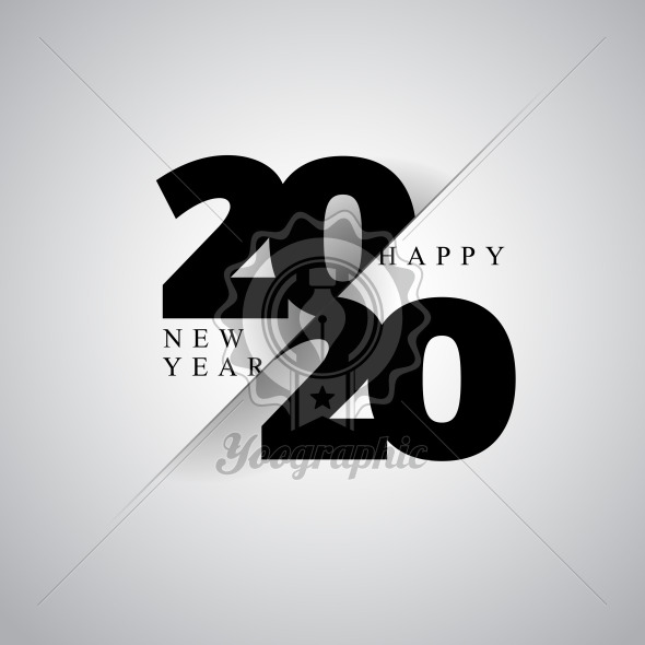 2020 Happy New Year illustration with typography number on dark background. Vector Holiday design for flyer, greeting card, banner, celebration poster, party invitation or calendar. - Royalty Free Vector Illustration