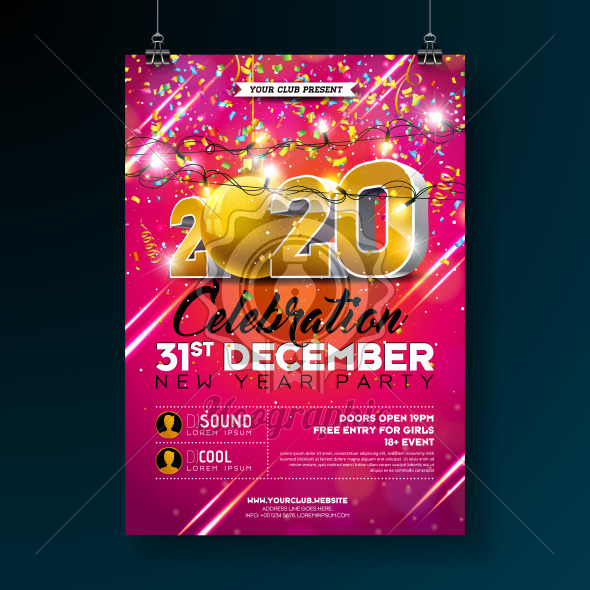 New Year Party Celebration Poster Template illustration with 3d 2020 Number and Falling Colorful Confetti on Red Background. Vector Holiday Premium Invitation Flyer or Promo Banner. - Royalty Free Vector Illustration