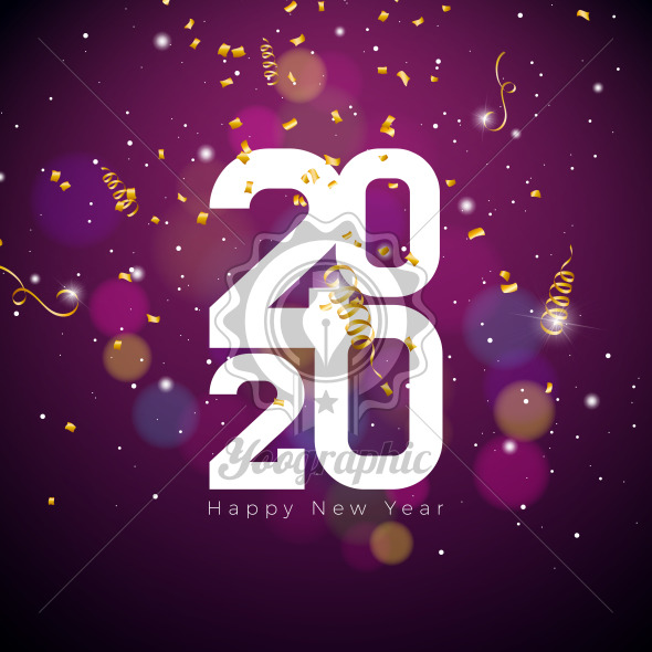 2020 Happy New Year illustration with white number and falling confetti on shiny background. Vector Holiday design for flyer, greeting card, banner, celebration poster, party invitation or calendar. - Royalty Free Vector Illustration