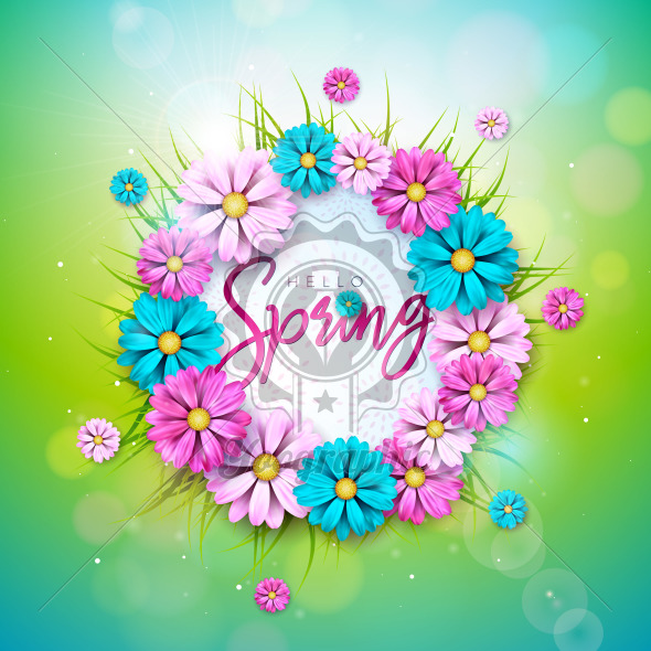 Vector Illustration on a Spring Nature Theme with Beautiful Colorful Flower on Green Background. Floral Design Template with Typography Letter for Banner, Flyer, Invitation, Poster or Greeting Card. - Royalty Free Vector Illustration