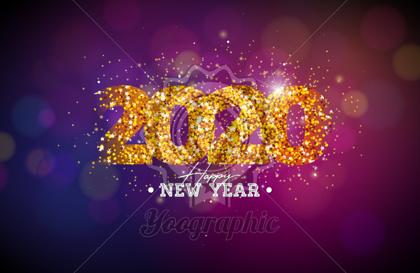 2020 Happy New Year illustration with shiny number on dark background. Vector Holiday design for flyer, greeting card, banner, celebration poster, party invitation or calendar. - Royalty Free Vector Illustration
