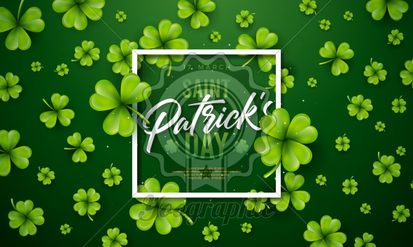 Saint Patrick's Day Design with Clover Leaf on Green Background. Irish Beer Festival Celebration Holiday Illustration with typography and Shamrock for Greeting Card, Party Invitation or Banner. - Royalty Free Vector Illustration