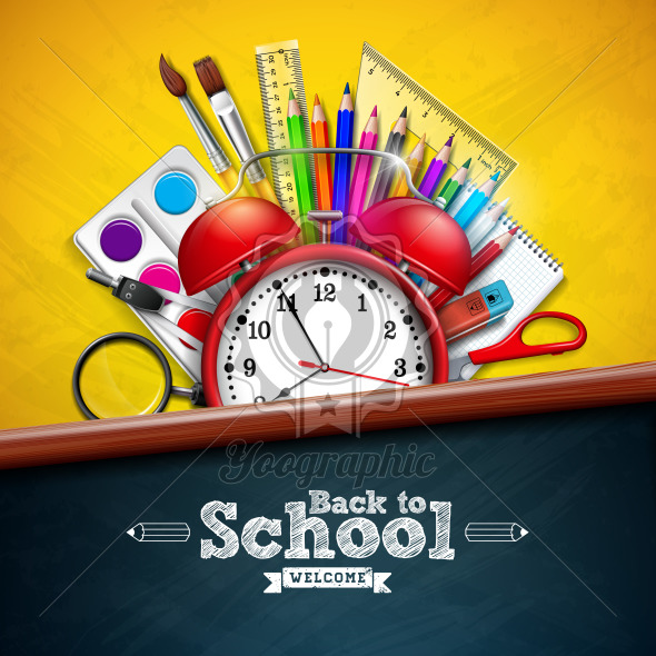 Back to school design with alarm clock, colorful pencil, magnifying glass, scissors, ruler and typography letter on yellow background. Vector education concept illustration with chalkboard for greeting card, banner, flyer, invitation, brochure or promotional poster. - Royalty Free Vector Illustration
