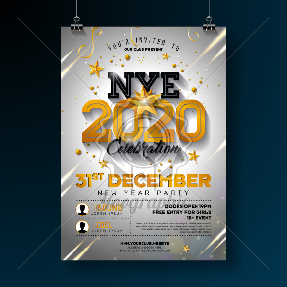 2020 New Year Party Celebration Poster Template Illustration with Shiny Gold Number on White Background. Vector Holiday Premium Invitation Flyer or Promo Banner. - Royalty Free Vector Illustration
