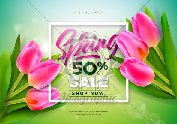 Spring Sale Design Template with Tulip Flowers and Typography Letter on Green Background. Vector Special Offer Illustration for Coupon, Banner, Voucher or Promotional Poster. - Royalty Free Vector Illustration