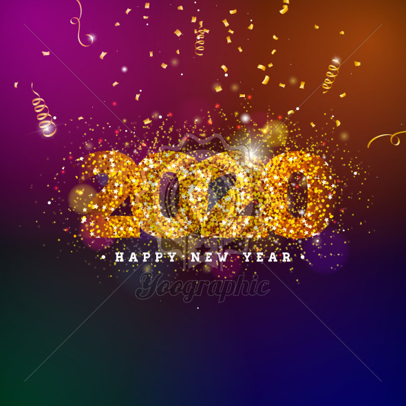 2020 Happy New Year illustration with shiny number and falling confetti on dark background. Vector Holiday design for flyer, greeting card, banner, celebration poster, party invitation or calendar. - Royalty Free Vector Illustration