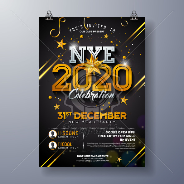 2020 New Year Party Celebration Poster Template Illustration with Shiny Gold Number on Black Background. Vector Holiday Premium Invitation Flyer or Promo Banner. - Royalty Free Vector Illustration