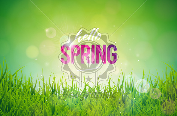 Vector Illustration on a Spring Nature Theme with Green Grass on Shiny Background. Floral Design Template with Typography Letter for Banner, Flyer, Invitation, Poster or Greeting Card. - Royalty Free Vector Illustration