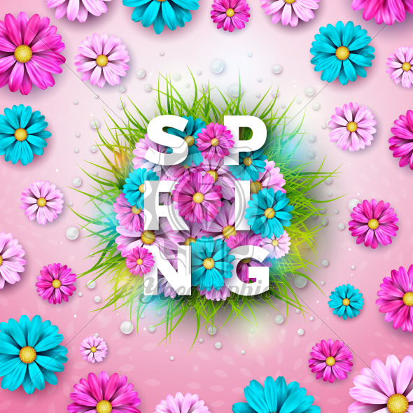 Vector Illustration on a Spring Nature Theme with Beautiful Colorful Flower on Pink Background. Floral Design Template with Typography Letter for Banner, Flyer, Invitation, Poster or Greeting Card. - Royalty Free Vector Illustration
