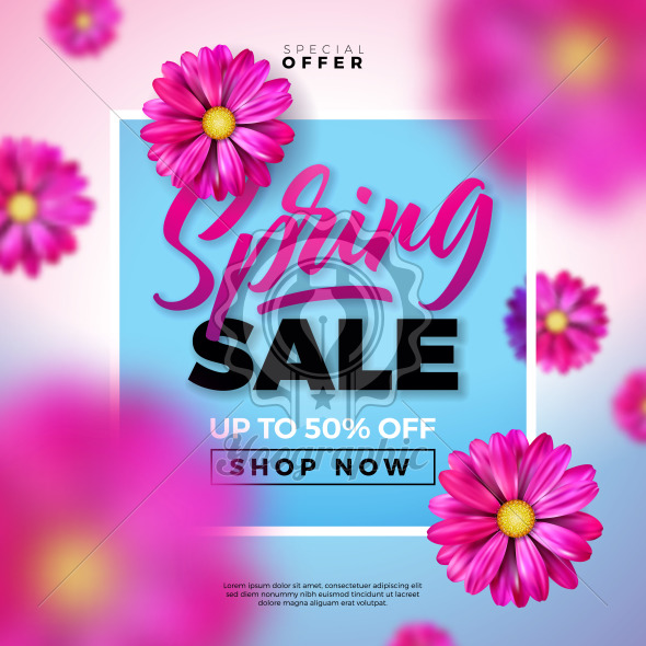 Spring Sale Design Template with Colorful Flowers and Typography Letter on Blue Background. Vector Special Offer Illustration for Coupon, Banner, Voucher or Promotional Poster. - Royalty Free Vector Illustration