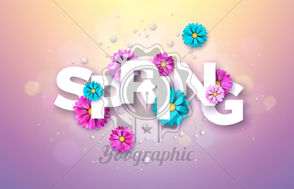 Spring Nature Design with Beautiful Colorful Flower on Shiny Violet Background. Vector Floral Illustration Template with Typography Letter for Banner, Flyer, Invitation, Poster or Greeting Card. - Royalty Free Vector Illustration