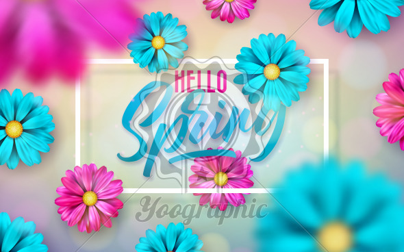 Vector Illustration on a Spring Nature Theme with Beautiful Colorful Flower on Shiny Light Background. Floral Design Template with Typography Letter for Banner, Flyer, Invitation or Greeting Card. - Royalty Free Vector Illustration